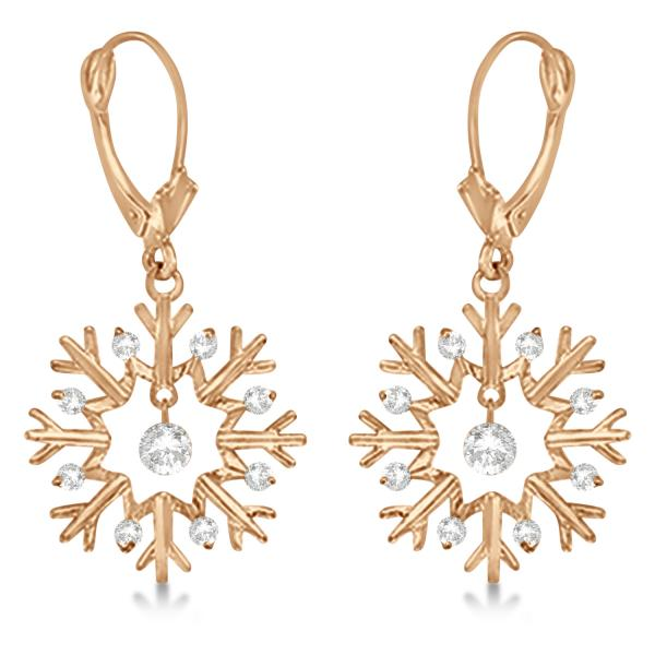 Snowflake Shaped Dangle Drop Diamond Earrings 14K Rose Gold (0.30ct)
