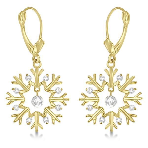 Snowflake Shaped Dangle Drop Diamond Earrings 14K Yellow Gold (0.30ct)