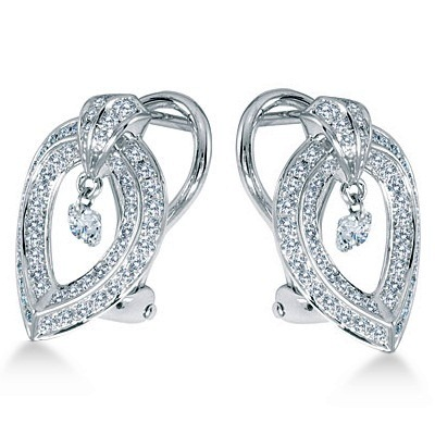 Teardrop Shaped Diamond Earrings Omega Back 14k White Gold (0.65ct)