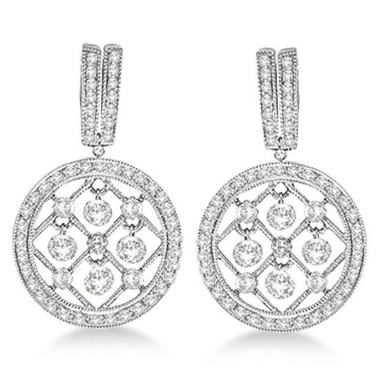 Drill Set Drop Dangle Diamond Circle Earrings 14k white Gold (1.10ct)