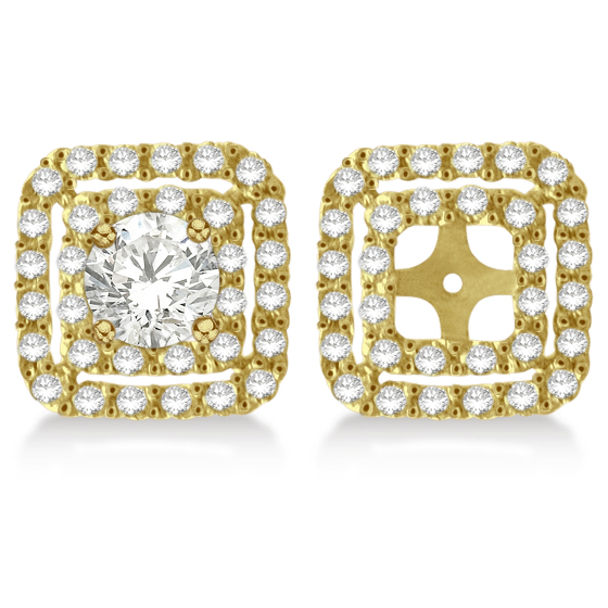Pave-Set Square Diamond Earring Jackets in 14k Yellow Gold (1.05ct)