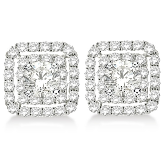Pave-Set Square Diamond Earring Jackets in 14k White Gold (1.05ct)
