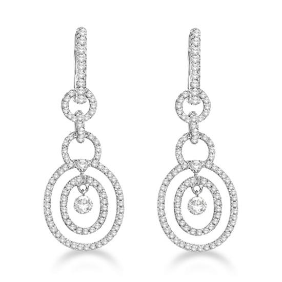 Drill Set Drop Dangle Diamond Oval Earrings 14k White Gold (0.90ct)