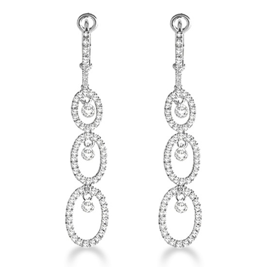 Oval Shaped Dangling Drop Diamond Earrings 14k White Gold (1.30ct)