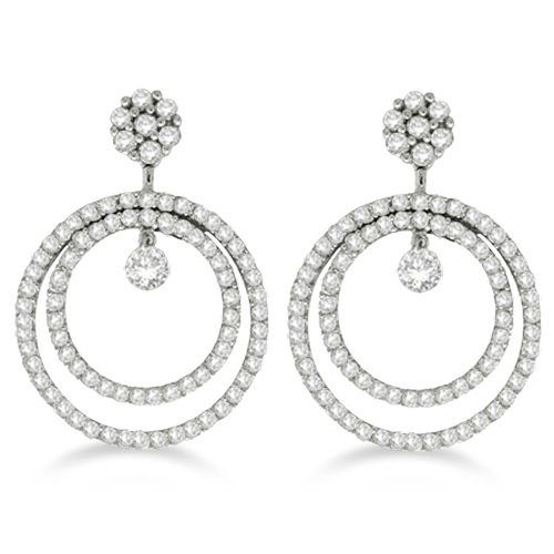 Double Circle Diamond Dangling Drop Earrings 14k White Gold (2.00ct)