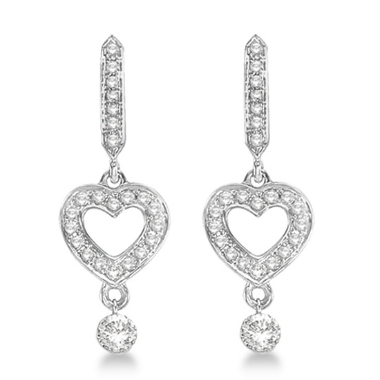 Heart Shaped Dangling Drop Diamond Earrings 14k White Gold (0.35ct)