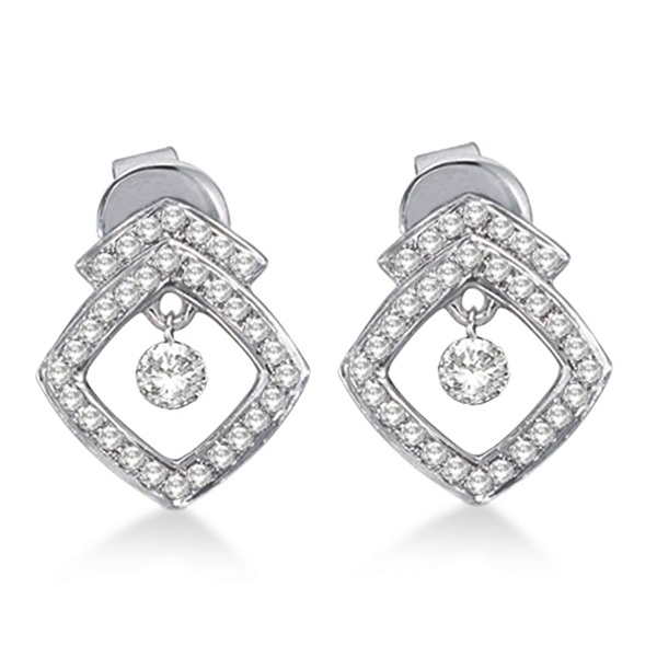 Diamond Square Shaped Earrings Drill Set 14k White Gold (0.35ct)