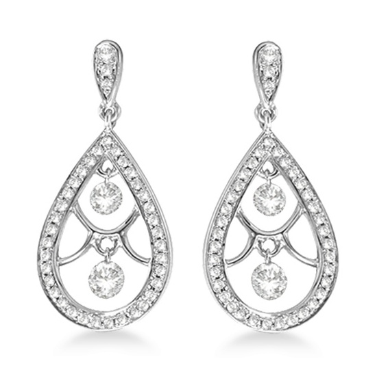 Oval Shaped Dangling Drop Diamond Earrings 14k White Gold (0.60ct)