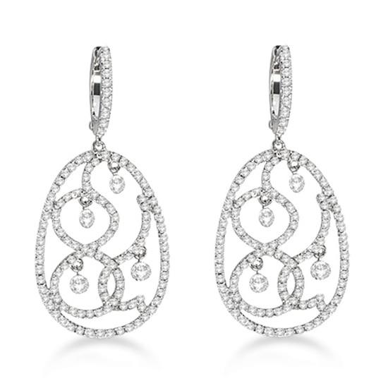 Drill Set Diamond Oval Shaped Drop Earrings 14K white Gold (1.30ct)