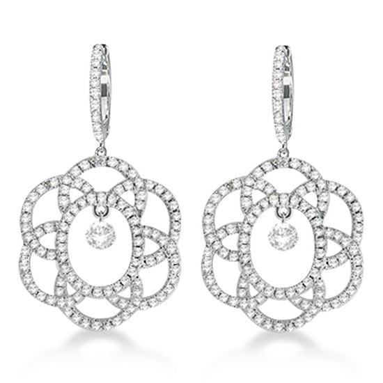 Drill Set Diamond Dangle Drop Earrings 14k White Gold (0.85ct)