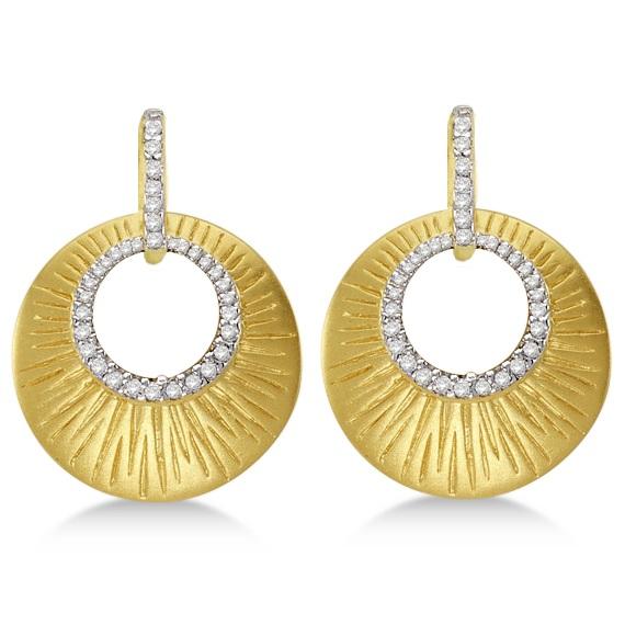Diamond Shell Earrings Satin Finish 14k Yellow Gold (0.15ct)