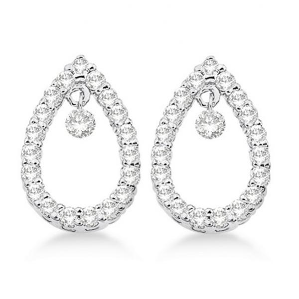 Drill Set Teardrop Shaped Diamond Earrings 14k White Gold (0.50ct)