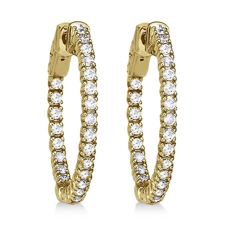 Prong-Set Diamond Hoop Earrings in 14k Yellow Gold (1.00ct)