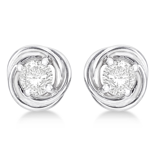 Diamond Love Knot Stud Earrings 14k White Gold (0.50ct)