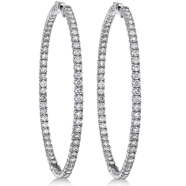 Pave-Set Diamond Hoop Earrings 14k White Gold (6.25ct)
