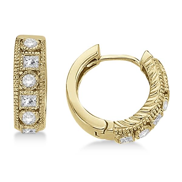 Round & Princess Cut Diamond Huggie Earrings 14k Yellow Gold (0.50ct)