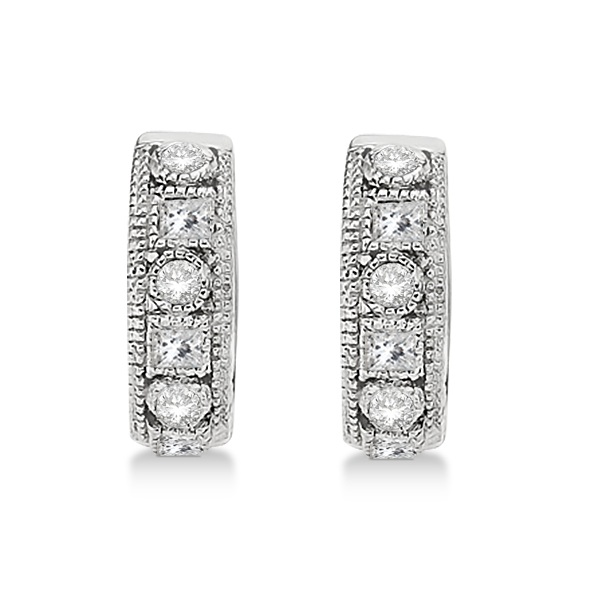 Round & Princess Cut Diamond Huggie Earrings 14k White Gold (0.50ct)