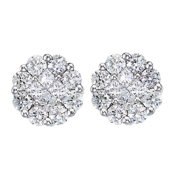 Diamond Cers Flower Stud Earrings In 14k White Gold 0 54 Ctw