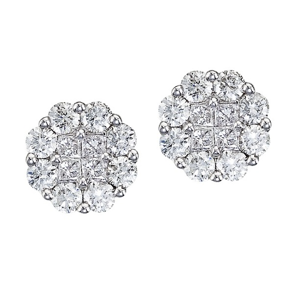 Diamond Clusters Flower Stud Earrings in 14k White Gold (0.54 ctw)