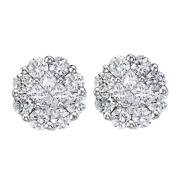 Diamond Clusters Flower Stud Earrings in 14k White Gold (1.50 ctw)