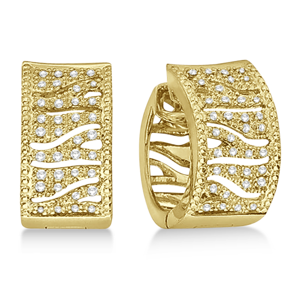 Zig Zag Diamond Huggie Earrings 14k Yellow Gold (0.30ct)