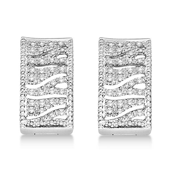 Zig Zag Diamond Huggie Earrings 14k White Gold (0.30ct)