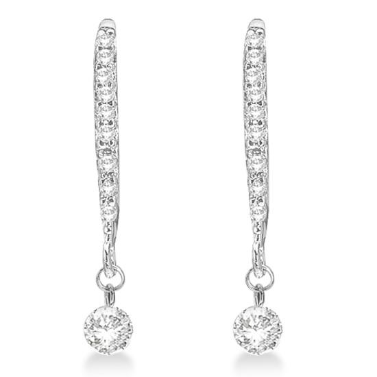 Unique Dangling Drop Diamond Earrings 14k White Gold (0.30ct)