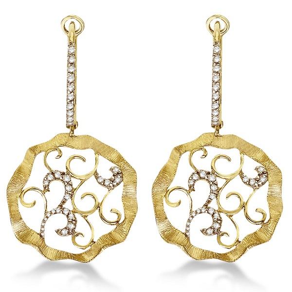Diamond Swirl Dangle Leaf Earrings Brushed 14k Yellow Gold (0.30ct)