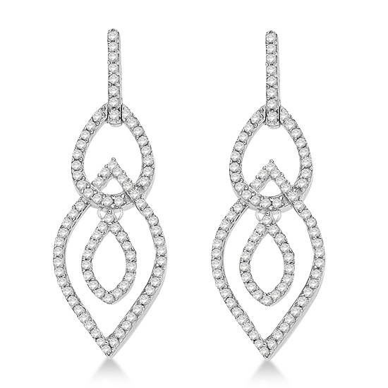 Drop Dangling Teardrop Diamond Earrings in 14k White Gold (0.50ct)