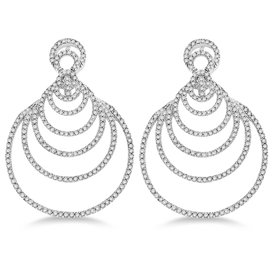 Diamond Graduated Circles Dangling Earrings 14k White Gold (1.00ct)