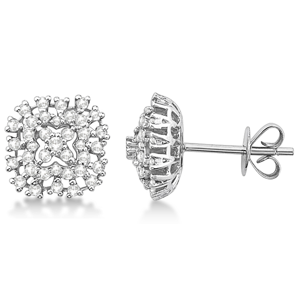 Cushion Shaped Cluster Stud Diamond Earrings 14K White Gold (0.55ct)