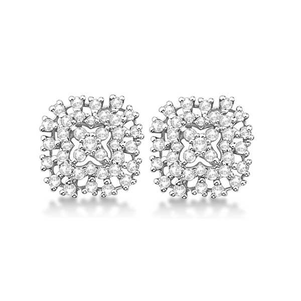 Cushion Shaped Cluster Stud Diamond Earrings 14K White Gold (0.55ct)