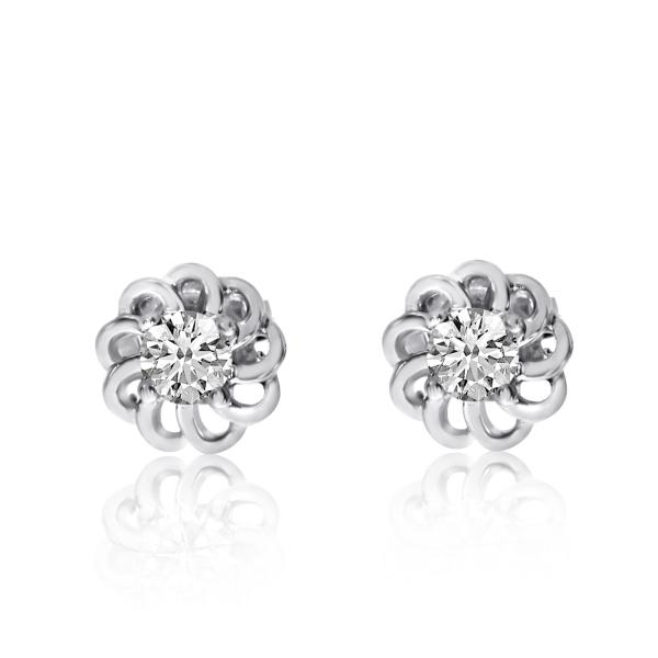 Petite Flower Shaped Diamond Stud Earrings in 14k White Gold 0.20ct