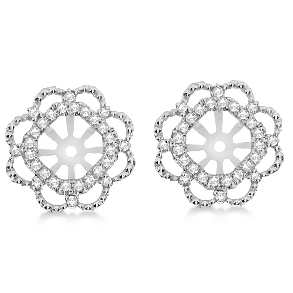 Diamond Halo Flower Earring Jackets Prong Set in 14k White Gold 0.28ct