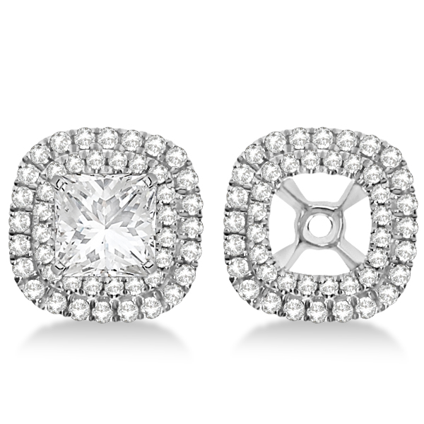 shaped earrings diamond square princess cut pave