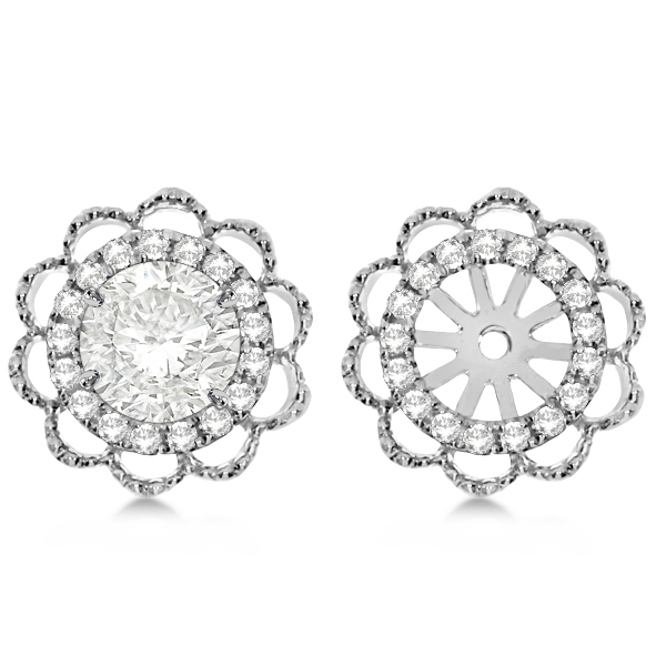 Diamond Halo Flower Earring Jackets 14k White Gold 1 00ct