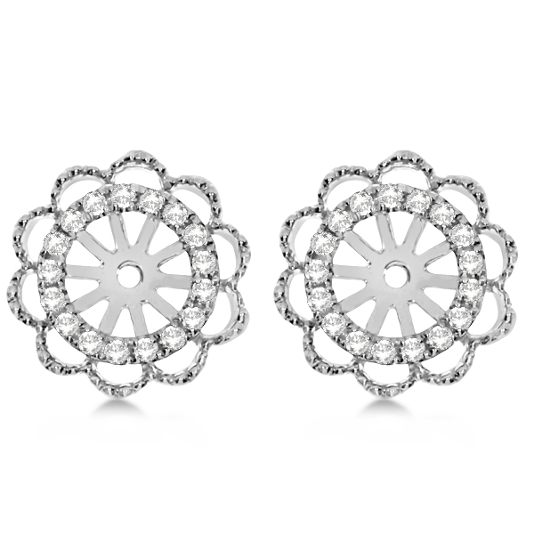 Diamond Halo Flower Earring Jackets 14k White Gold 1.00ct