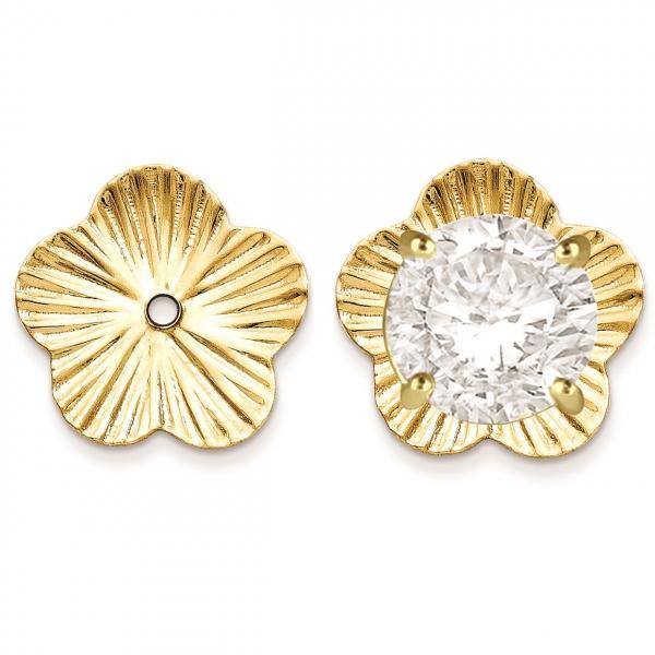 Flower Fancy Earring Jackets in Plain Metal 14k Yellow Gold