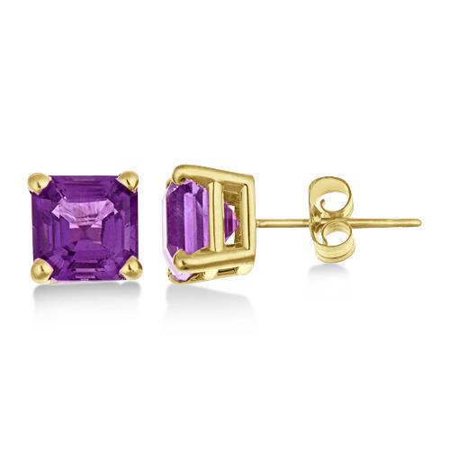 Asscher Cut Amethyst Basket Stud Earrings 14k Yellow Gold (2.10ct)