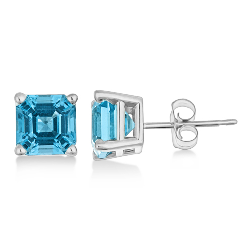 Asscher Cut Blue Topaz Basket Stud Earrings 14k White Gold (2.70ct)