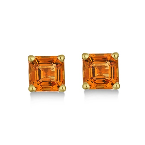 Asscher Cut Citrine Basket Stud Earrings 14k Yellow Gold (2.10ct)