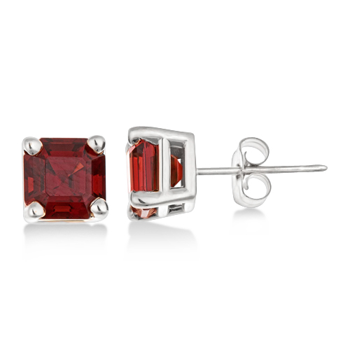 Asscher Cut Garnet Basket Stud Earrings 14k White Gold (2.70ct)