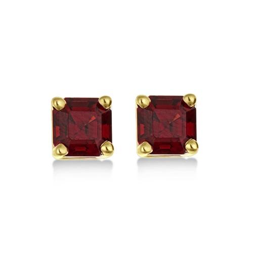 Asscher Cut Garnet Basket Stud Earrings 14k Yellow Gold (2.70ct)