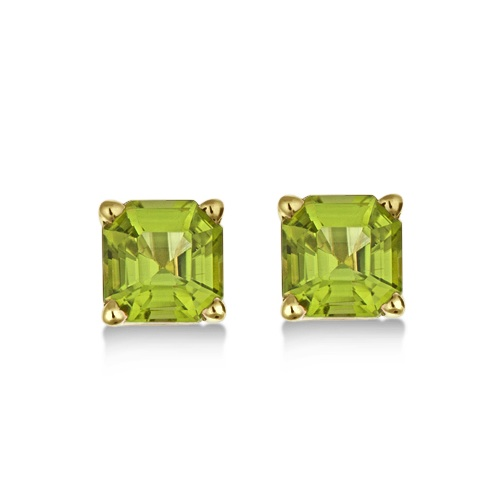 Asscher Cut Peridot Basket Stud Earrings 14k Yellow Gold (2.50ct)