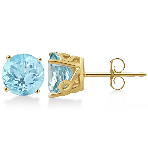 Antique Art Deco Aquamarine Stud Earrings 14k Yellow Gold (2.50ct)