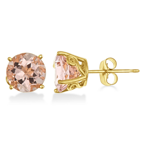 Antique Art Deco Morganite Stud Earrings 14k Yellow Gold (2.50ct)