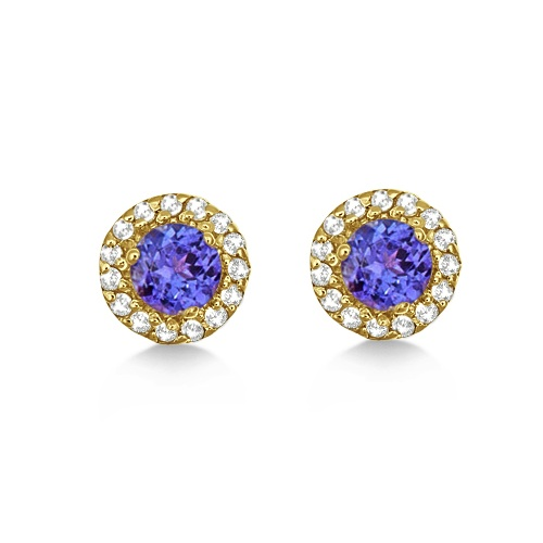 Round Halo Tanzanite & Diamond Stud Earrings 14k Yellow Gold (0.75ct)