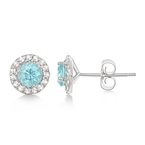 Round Halo Blue Zircon & Diamond Stud Earrings 14k White Gold (0.90ct)
