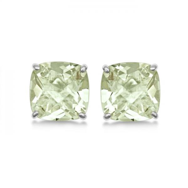 Cushion-Cut Green Amethyst Stud Earrings in Sterling Silver (4.50ct)
