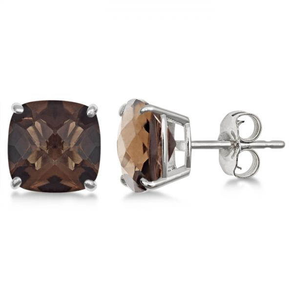 Cushion-Cut Smoky Quartz Stud Earrings in Sterling Silver (4.50ct)